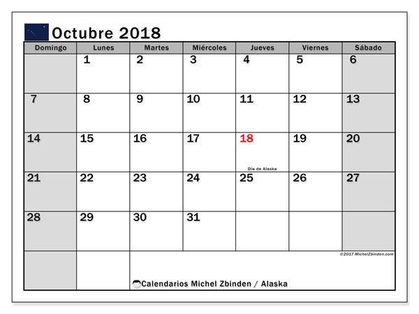 Calendario octubre 2018, con los días feriados en Alaska. Almanaque para imprimir gratis.