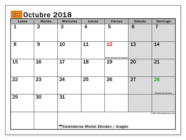 Calendario octubre 2018, con los días festivos de Aragón. Almanaque para imprimir gratis.