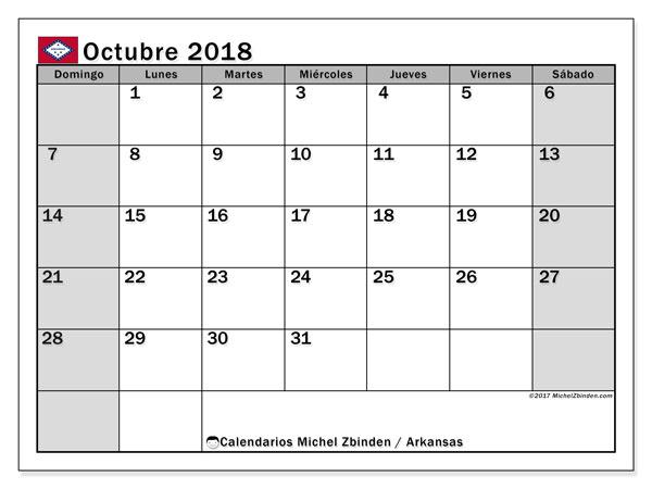 Calendario octubre 2018, con los días feriados de Arkansas. Calendario imprimible gratis.