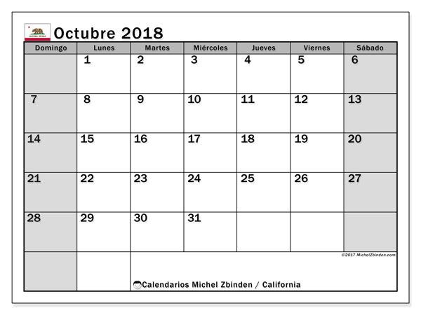 Calendario octubre 2018, con los días feriados en California. Calendario para el mes para imprimir gratis.