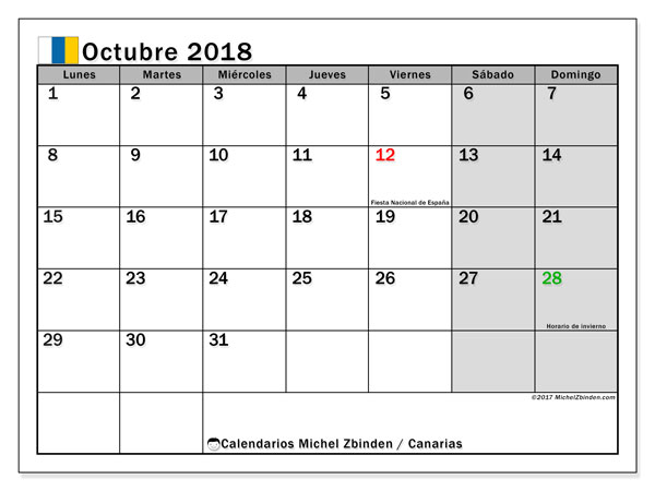 Calendario octubre 2018, con los días festivos de las Islas Canarias. Calendario imprimible gratis.