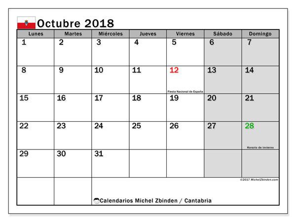 Calendario octubre 2018, con los días festivos de Cantabria. Almanaque para imprimir gratis.
