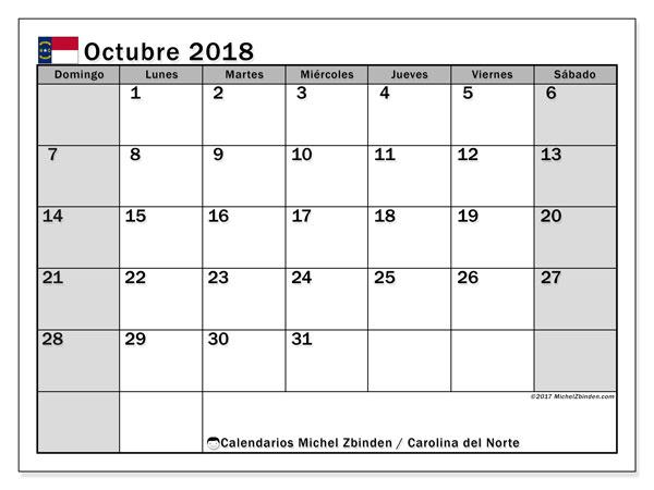 Calendario octubre 2018, con los días feriados en Carolina del Norte. Calendario imprimible gratis.