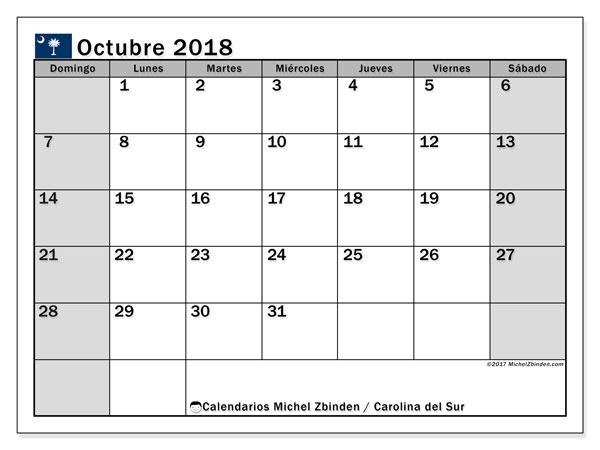 Calendario octubre 2018, con los días feriados en Carolina del Sur. Calendario para el mes para imprimir gratis.