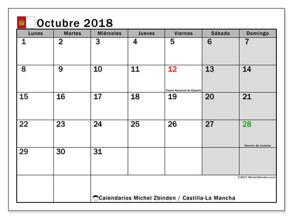 Calendario octubre 2018, con los días festivos de Castilla-La Mancha. Calendario imprimible gratis.