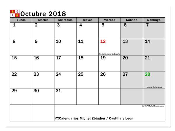 Calendario octubre 2018, con los días festivos de Castilla y León. Calendario gratuito para imprimir.