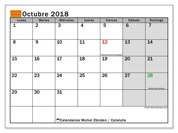 Calendario octubre 2018, con los días festivos de Cataluña. Calendario para el mes para imprimir gratis.