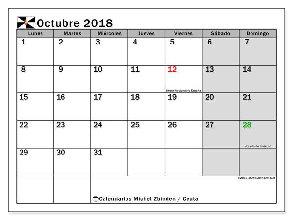 Calendario octubre 2018, con los días festivos de Ceuta. Calendario para el mes para imprimir gratis.