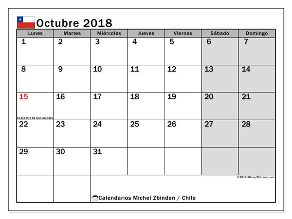 Calendario octubre 2018, con los días feriados para Chile. Calendario mensual para imprimir gratis.