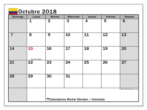 Calendario octubre 2018, con los días festivos en Colombia. Almanaque para imprimir gratis.