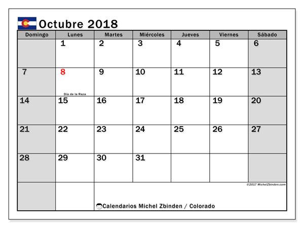 Calendario octubre 2018, con los días feriados enColorado. Calendario imprimible gratis.
