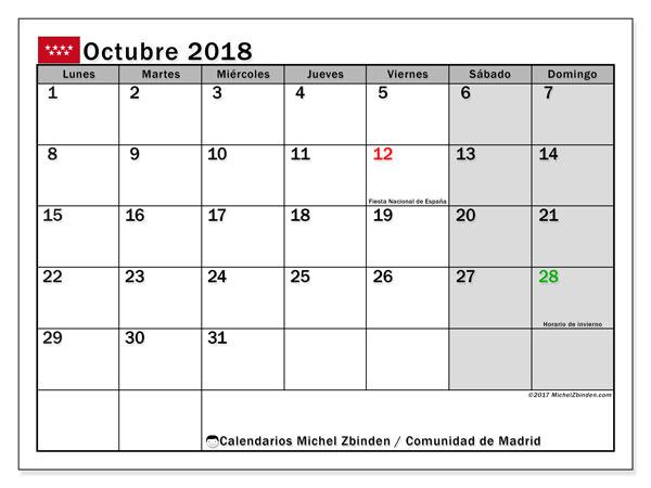 Calendario octubre 2018, con los días festivos de la Comunidad de Madrid. Planificación para imprimir gratis.