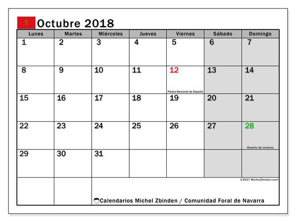 Calendario octubre 2018, con los días festivos para la Comunidad Foral de Navarra. Calendario para imprimir gratis.