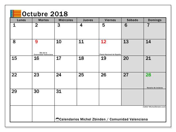 Calendario octubre 2018, con los días festivos de la Comunidad Valenciana. Almanaque para imprimir gratis.