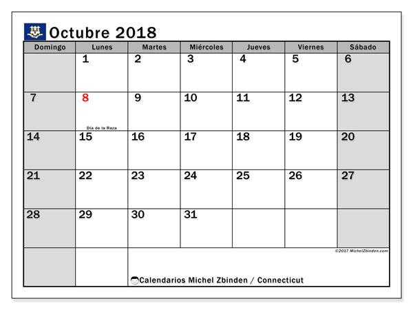 Calendario octubre 2018, con los días feriados en Connecticut. Calendario imprimible gratis.