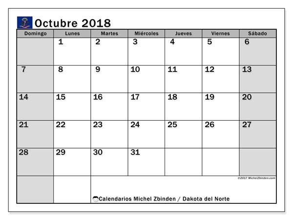 Calendario octubre 2018, con los días feriados en Dakota del Norte. Calendario para imprimir gratis.