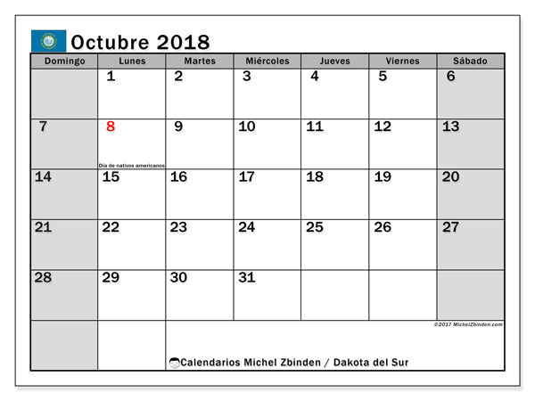 Calendario octubre 2018, con los días feriados de Dakota del Sur. Calendario mensual para imprimir gratis.