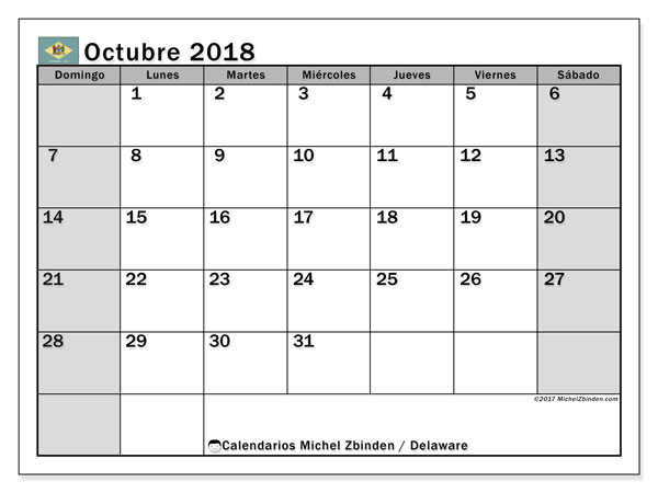 Calendario octubre 2018, con los días feriados de Delaware. Calendario para imprimir gratis.