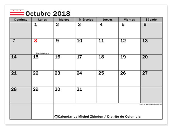 Calendario octubre 2018, con los días feriados del Distrito de Columbia. Calendario mensual para imprimir gratis.