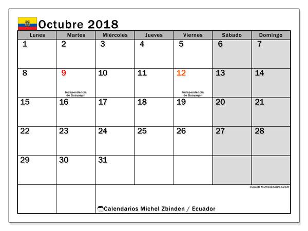 Calendario octubre 2018, con los días feriados para Ecuador. Calendario imprimible gratis.