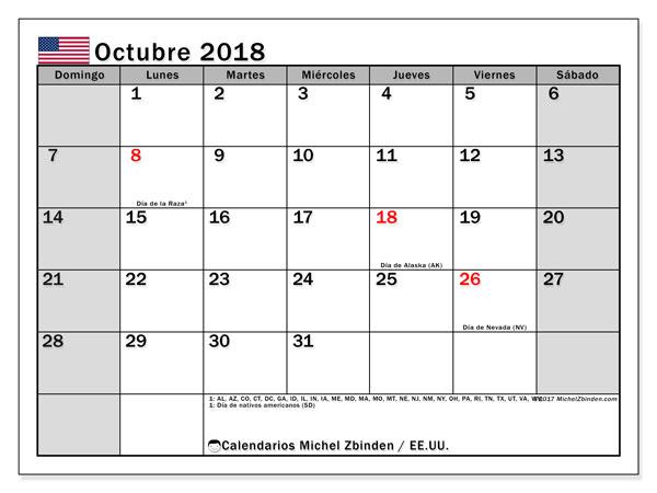 Calendario octubre 2018, con los días feriados en EE.UU.. Calendario gratuito para imprimir.