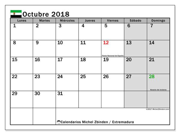 Calendario octubre 2018, con los días festivos de Extremadura. Planificación para imprimir gratis.