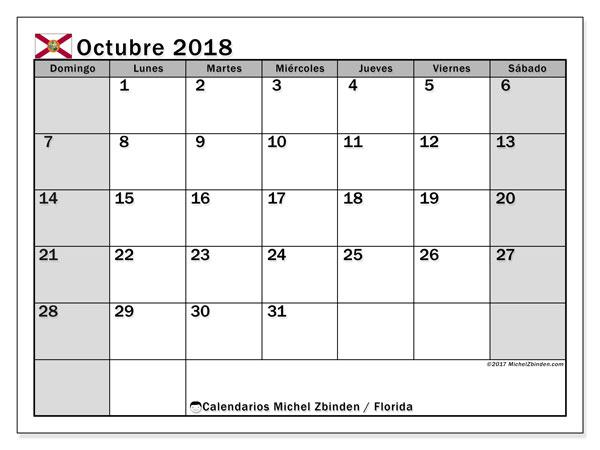 Calendario octubre 2018, con los días feriados en Florida. Calendario para el mes para imprimir gratis.