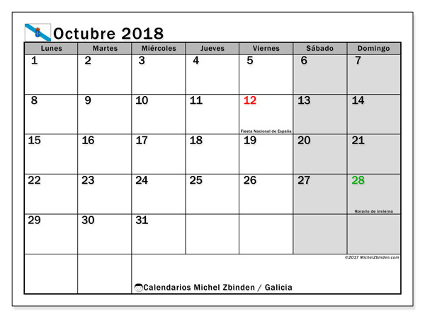 Calendario octubre 2018, con los días festivos en Galicia. Calendario imprimible gratis.