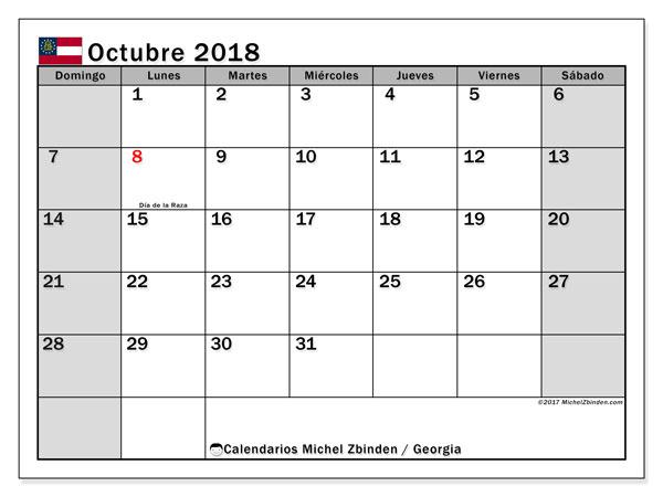 Calendario octubre 2018, con los días feriados de Georgia. Calendario para imprimir gratis.