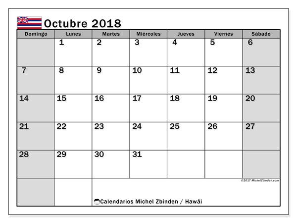 Calendario octubre 2018, con los días feriados en Hawái. Calendario imprimible gratis.