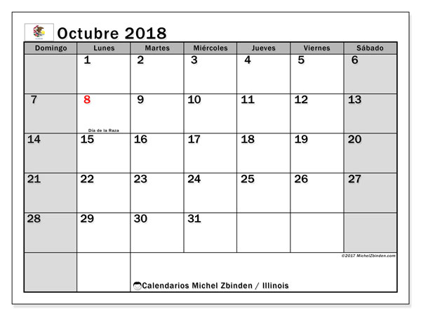 Calendario octubre 2018, con los días feriados en Illinois. Calendario gratuito para imprimir.