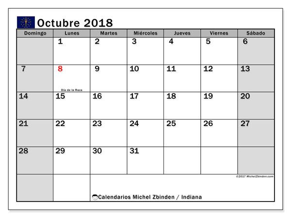Calendario octubre 2018, con los días feriados de Indiana. Calendario gratuito para imprimir.