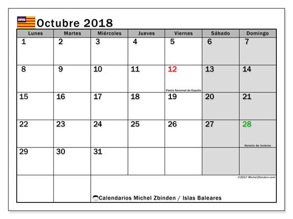 Calendario octubre 2018, con los días festivos de las Islas Baleares. Calendario para el mes para imprimir gratis.