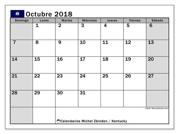 Calendario octubre 2018, con los días feriados en Kentucky. Calendario para imprimir gratis.