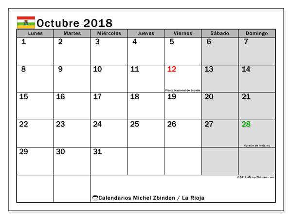 Calendario octubre 2018, con los días festivos de La Rioja. Planificación para imprimir gratis.
