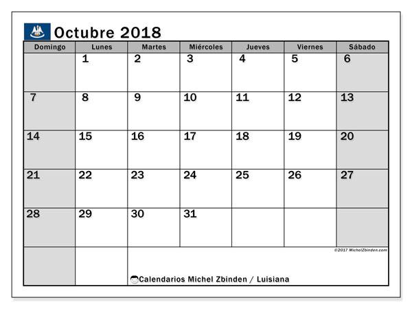 Calendario octubre 2018, con los días feriados en Luisiana. Almanaque para imprimir gratis.