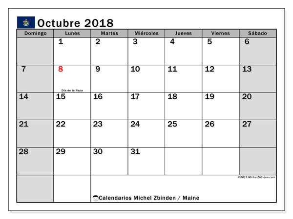 Calendario octubre 2018, con los días feriados en Maine. Planificación para imprimir gratis.