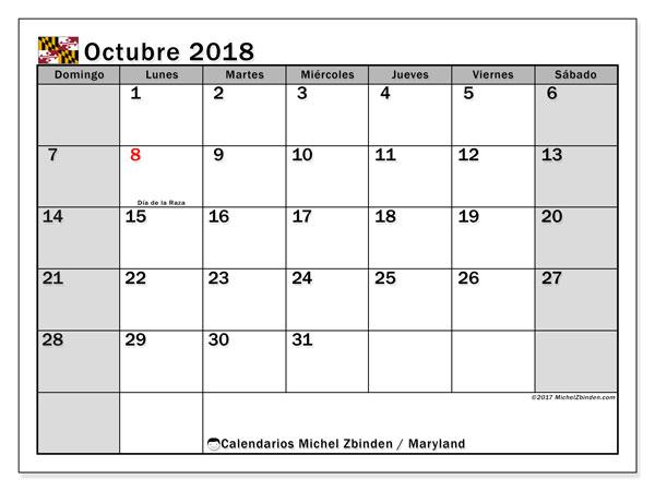 Calendario octubre 2018, con los días feriados en Maryland. Almanaque para imprimir gratis.