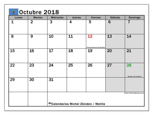 Calendario octubre 2018, con los días festivos de Melilla. Calendario para imprimir gratis.