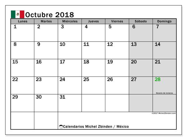 Calendario octubre 2018, con los días feriados en México. Calendario para imprimir gratis.