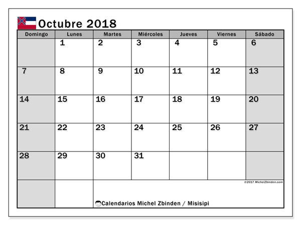 Calendario octubre 2018, con los días feriados de Misisipi. Calendario gratuito para imprimir.