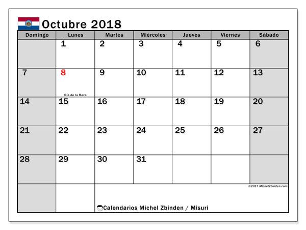 Calendario octubre 2018, con los días feriados de Misuri. Planificación para imprimir gratis.
