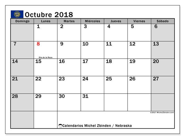 Calendario octubre 2018, con los días feriados en Nebraska. Calendario mensual para imprimir gratis.