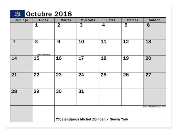 Calendario octubre 2018, con los días feriados de Nueva York. Calendario imprimible gratis.