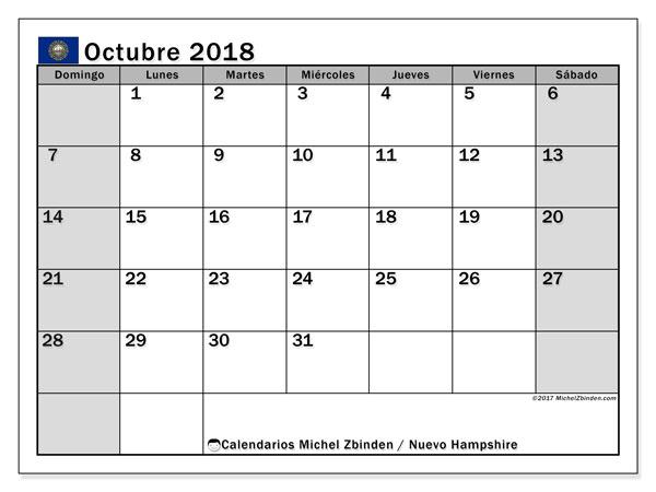 Calendario octubre 2018, con los días feriados de Nuevo Hampshire. Calendario gratuito para imprimir.