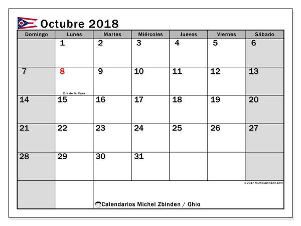 Calendario octubre 2018, con los días feriados en Ohio. Planificación para imprimir gratis.