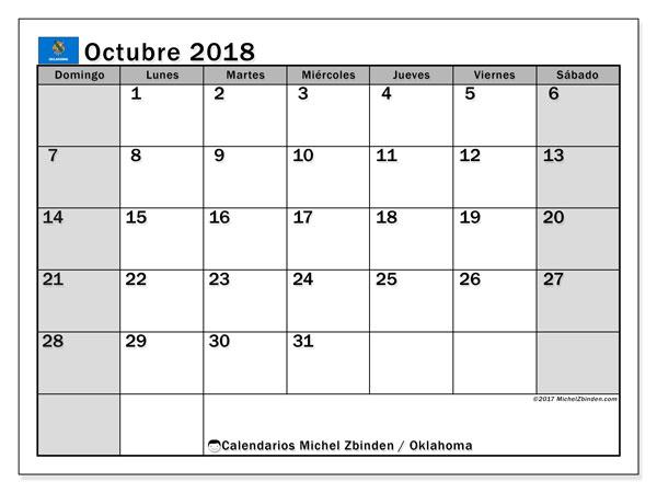 Calendario octubre 2018, con los días feriados de Oklahoma. Calendario mensual para imprimir gratis.