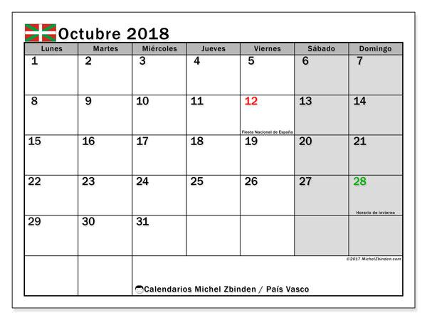 Calendario octubre 2018, con los días festivos del País Vasco. Calendario gratuito para imprimir.