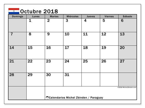 Calendario octubre 2018, con los días feriados en Paraguay. Planificación para imprimir gratis.
