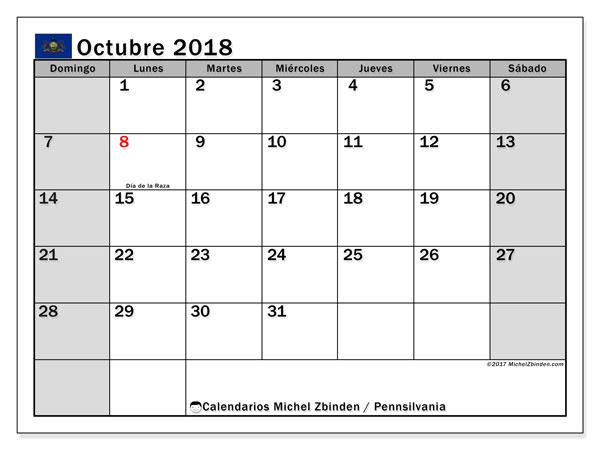 Calendario octubre 2018, con los días feriados en Pennsilvania. Calendario mensual para imprimir gratis.